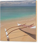 Outrigger On Beach Wood Print