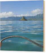 Outrigger On Ocean Wood Print