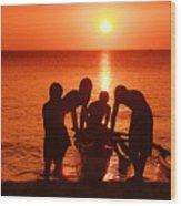 Outrigger Sunset Silhouet Wood Print