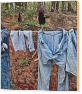 Outside Laundry Wood Print by Janet Moss