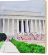 Outside The Lincoln Memorial Wood Print