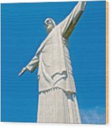 Outstretched Arms Of Christ The Redeemer Icon On Corcovado Mountain In Rio De Janeiro-brazil  Wood Print