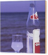 Ouzo And Olives By The Sea Wood Print