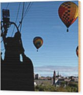 Over Auburn And Lewiston Hot Air Balloons Wood Print