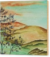 Over Orange Hills Wood Print