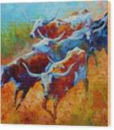 Over The Ridge - Longhorns Wood Print