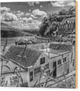 Over The Rooftops At Portree In Greyscale 2 Wood Print