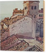 Over The Rooftops, Caceres Wood Print