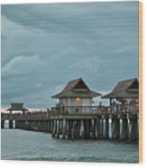 Clouds Over The Naples Pier Wood Print
