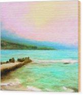 Overcast Sunset At Napoopoo Beach Park Wood Print