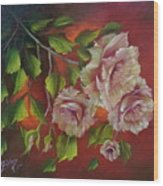 Overhanging Roses Wood Print