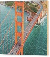 Overhead Aerial Of Golden Gate Bridge, San Francisco, Usa Wood Print