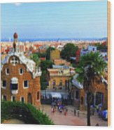Overlooking Barcelona From Park Guell Wood Print
