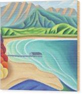 Overlooking Hanalei Bay Wood Print