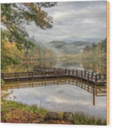 Overlooking The Beauty Of The Lake Wood Print