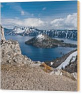 Overlooking Wizard Island In Spring Wood Print