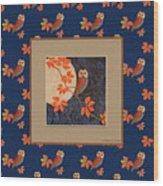 Owl And Moon On Midnight Blue Wood Print