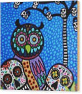 Owl And Sugar Day Of The Dead Wood Print by Pristine Cartera Turkus
