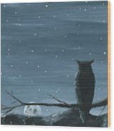 Owl And The Moon Wood Print