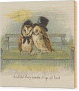Owl Couple On Bench Wood Print