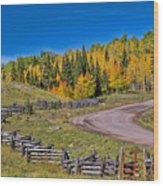 Owl Creek Pass Road Wood Print