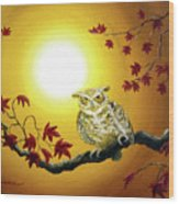 Owl In Autumn Glow Wood Print