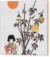 Owl In Bamboo By Mary Ellen Palmeri Wood Print