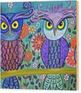 Owl In The Family Wood Print