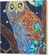 Owl Light Wood Print