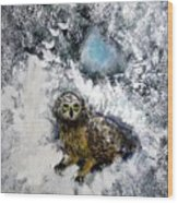 Owl On Snowy Afternoon Wood Print