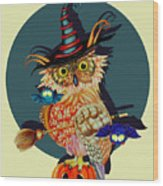 Owl Scary Wood Print