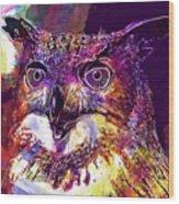 Owl The Female Eagle Owl Bird  Wood Print