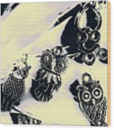 Owls From Blue Yonder Wood Print