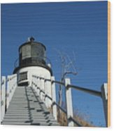 Owls Head Lighthouse Winter Wood Print