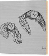 Owls In Flight Wood Print