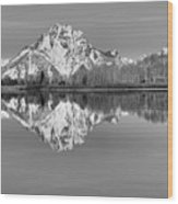 Oxbow Bend Morning Black And White Wood Print