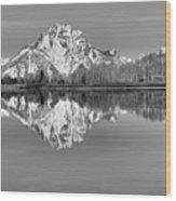 Oxbow Bend Panorama Black And White Wood Print