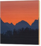 Oxbow Bend Sunset Wood Print