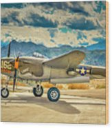 P38 Fly In Wood Print