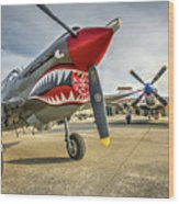 P40 Warhawk And P51d Mustang On The Ramp Wood Print