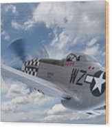 P51 In The Clouds Wood Print