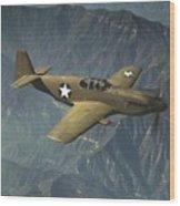 P51 Mustang In Flight Wood Print by Padre Art