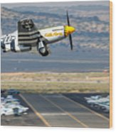 P51 Mustang Little Horse Gear Coming Up Friday At Reno Air Races 16x9 Aspect Signature Edition Wood Print