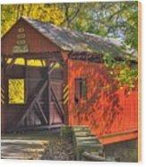 Pa Country Roads - Henry Covered Bridge Over Mingo Creek No. 3a - Autumn Washington County Wood Print