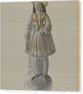 Pa. German Chalkware Bloomer Girl Wood Print