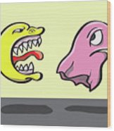 Pac Man And Ghost Illustration Wood Print