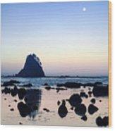 Pacific Moonset Wood Print