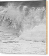 Pacific Ocean Breakers Black And White Wood Print