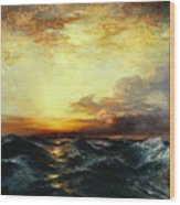 Pacific Sunset Wood Print by Thomas Moran