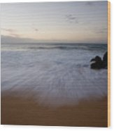 Pacific Wave On Beach - Oahu Wood Print
